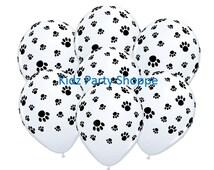"7ct PAW PRINTS 11"" Latex Balloons Paw Patrol Dog Cat Animal Birthday Party Supplies Decoration Centerpiece"