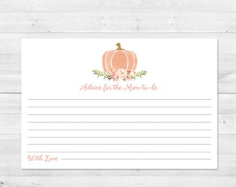 Baby ShowerAdvice Card, Printable, Boho Baby Shower Games, Little Pumpkin, Baby Shower Games, Floral Baby Shower, Fall, Advice Card