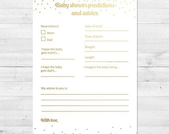 baby shower games baby shower advice card baby shower predictions printable gold and