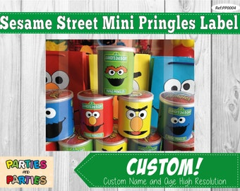50% OFF - Sesame Street printable mini pringles label, elmo pringles label, personalized pringles, elmo mini pringles, elmo party supplies