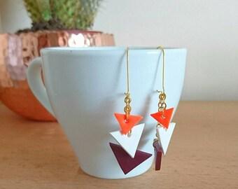 Handmade geometic Triangle Drops/Triangle Dangle earrings