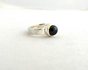 Sterling silver and almandine garnet ring