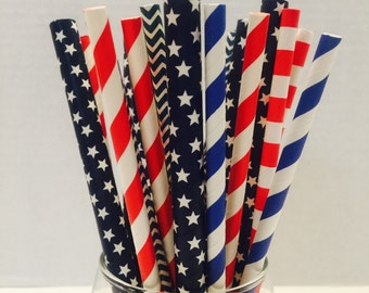 Paper straws; Red, White, And Blue