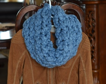 Handmade Snood Scarf pale blue