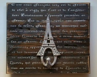 Wall Hook French Script and the Eiffel Tower, Reclaimed Barn Wood