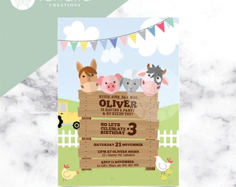Farm Animal Invitation // 120 x 180mm // Change to any Occasion