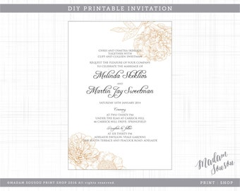 NEUTRAL FLORAL WEDDING printable invitation