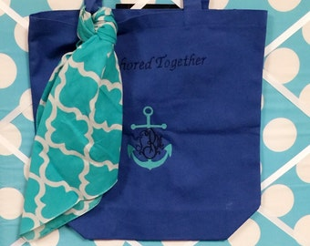 Embroidered beach bag with anchor and up to 3 initials