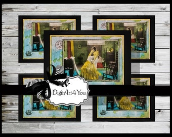 Digital collage/Funny/Cute/Atlas/Globe/Yellow /Dress/Girl/Old Fashioned/Fashion/Unusual/Digital Download/Vintage/Supplies/Inchies/Dominoes