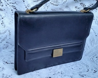 Beautiful 1950's Authentic GUCCI Black Leather Handbag Purse Brass Hardware Exceptional quality and condition