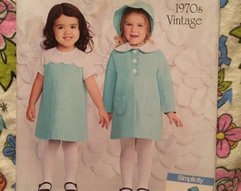 Simplicity 1207 1970s vintage reproduction toddler dress/coat/bonnet