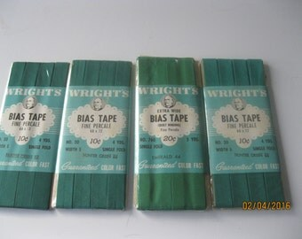 4 Vintage Packages of Various Greens Wright's Bias Tape