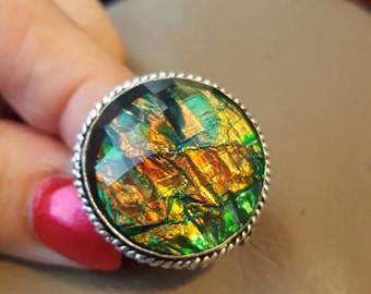 Dichroic Glass Ring - size 9.25!