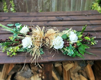 Made to order Artificial Country Style Swag- Featuring Roses, Berries, Foliage