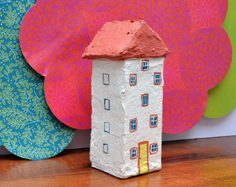 Small, Little Paper Mache House:   White House with Pink Roof