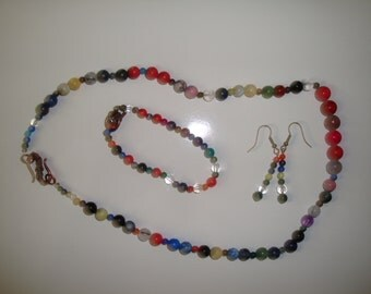 Necklace, Bracelet, and Earring Set with Gemstone Beads