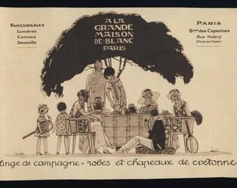 Original Vintage 1924 Art Deco Advert A La Grande Maison de Blanc (8 3/4'x6 1/4' - 22 1/2x15 1/2 cm)