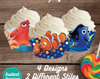 Finding Dory Cupcake Wrappers, Finding Dory Printable Cupcake Wrap, Finding Dory Birthday decoration, instant download, DIY, Nemo