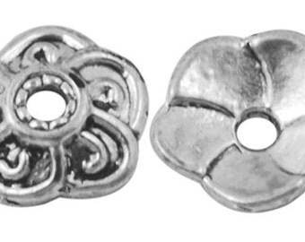 50pcs Antique Silver Tibetan Style Bead Caps 9mm (B47b)