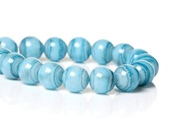 1 Strand 8mm Drawbench Glass Beads Sky Blue (B9)