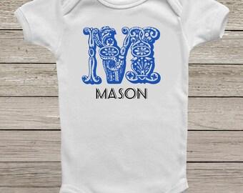 Custom monogram onesie, Baby boy onesie, Baby girl onesie,  custom baby clothes, custom bodysuit