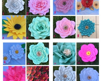 Paper Flower Templates- DIY, wedding, baby shower , bridal shower, baptism