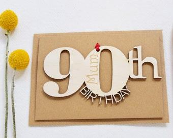 Personalised 90th Birthday Card- 90th Birthday Cards - Keepsake Birthday Card - Wooden Card - Engraved Birthday Card - Handcrafted Card