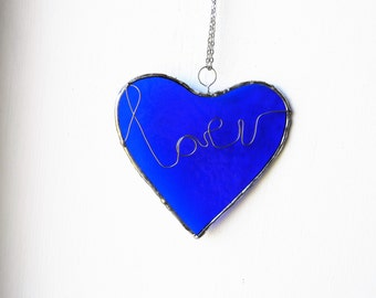 Blue Heart Glass suncatcher, Stained Glass Sun Catcher, Love Hearts, Handmade unique, best selling, unique gift, house warming, window art
