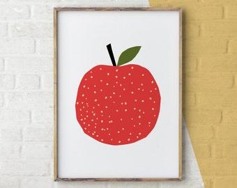 Apple Print, Kitchen Printables, Autumn Decor, Fall Decor, Printable Kitchen Art, Food Art, A is for Apple, Food Wall Art, Instant Download