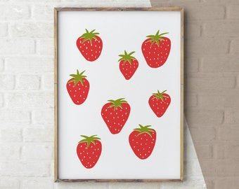 Kitchen Wall Art, Strawberries Print, Wall Art Food, Kids room art