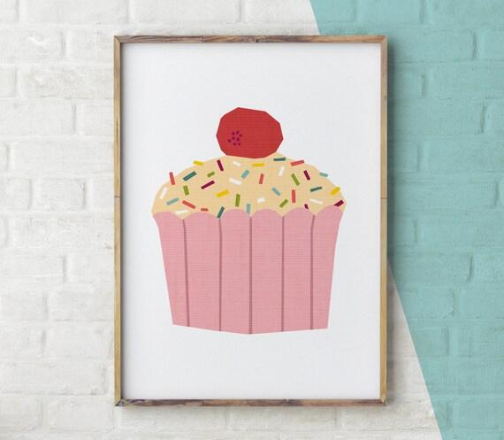 Cake Art Printer : Cake Printable Cupcake wall art Cake Print kitchen art