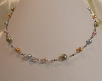 Beaded necklace 4 colors freshwater pearls.