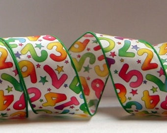 2.5 inchWired Ribbon ~ 10 Yards ~ Numbers Ribbon ~ 100% Cotton ~ Made in the USA