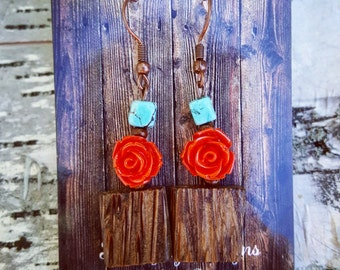 Rustic Wood and Red Flower with Turquoise