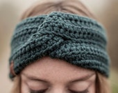 Headband FRIDA / petrol / crochet wool winter hat ear warmer / available in different colors