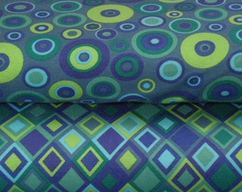Cotton Jersey diamond and circles green blue