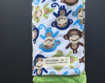 Monkey Baby Blanket Custom Choice of Minky Colors Curious George Nursery Green Brown Blue New Mom unique gift Brass Cheeky Monkey