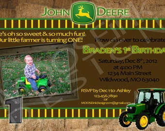 5x7 Custom John Deere Birthday Invitation