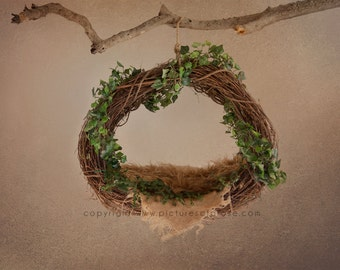 Grapevine Wreath Digital Backdrop for Newborns - Ivy Wrap