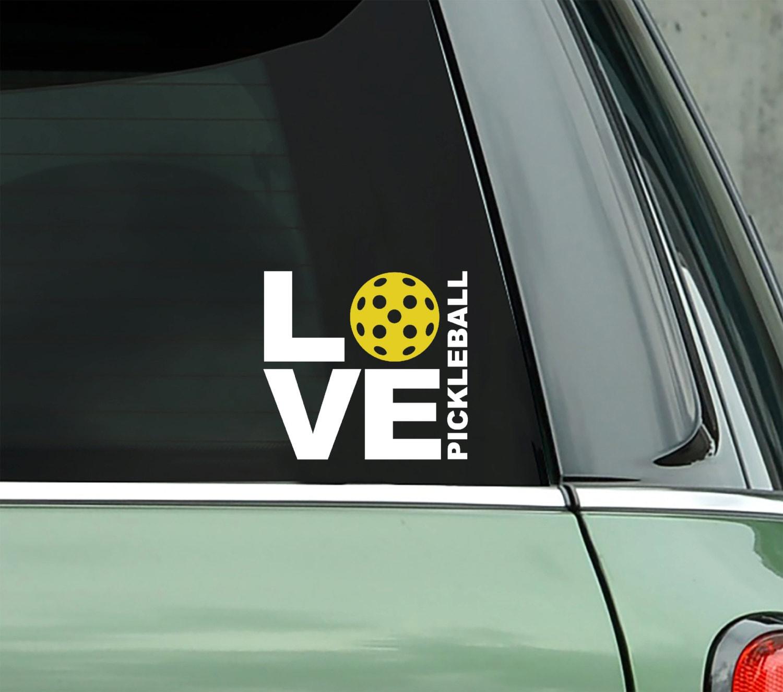 Love Pickleball Decal Vinyl Decal Bumper Sticker