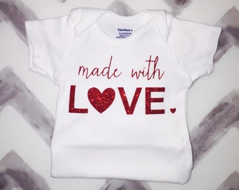Made with love onesie, baby onesie, customized onesie, love onesie, baby clothes, bodysuit