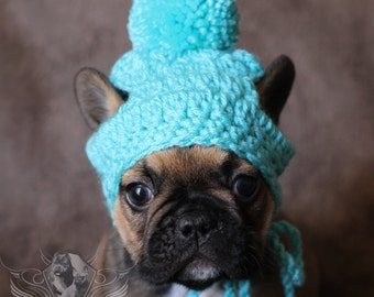 French Bulldog Clothe Puppy Beanie pom pom hat dog clothes toque gorro de ganchillo para mascota