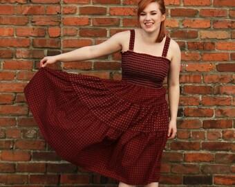 Vintage Tiered Bandeau Cotton Summer Dress maroon S / M