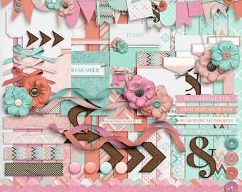 Summer Sigh - Digital Scrapbooking Kit - 17 Paper - 60 Plus Elements - Paper Size - 12 x 12 Inches - Digital