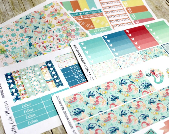 Mermaid Planner Stickers- Nautical Planner Stickers - Erin Condren Life Planner - Happy Planner - Day Designer - Stickers - Summer Mermaid