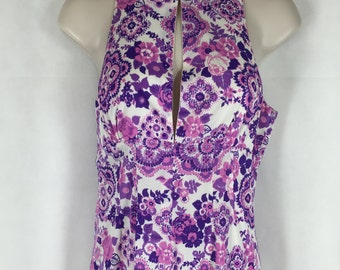 60s-70s Vintage Long Floral Dress - Think Brady Bunch Garden Party! #E101