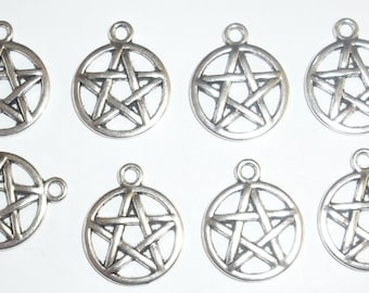 10 x Pentagram Charms *20mm*Tibetan Silver*et*