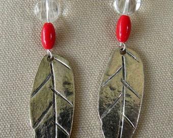 Metal Silver Leaf, Swarovsky Chrystal, Sterling Earwires