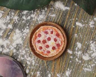 Pepperoni pizza. Realistic dollhouse miniature food 1:12