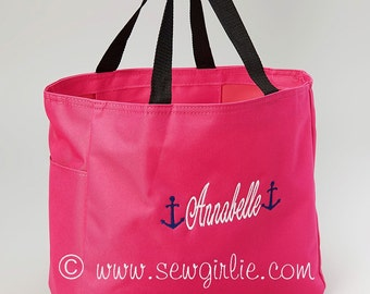 Adorable Monogrammed Hot Pink Anchor Tote